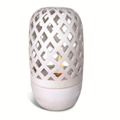 "18""H CREAM WHITE FLAME DOME HURRICANE FIRE POT by PACIFIC..."