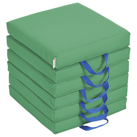 SoftZone® Square Floor Cushion with Handle 6-Piece - Green