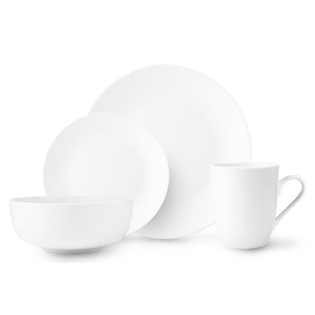 - ROSCHER Dinnerware Dish Set (16-Piece) White, Ceramic Round coupe Dishes | Dinner and Salad Plates, Appetizer Bowls, Drink Mugs | Classic Kitchen Style | Dishwasher Safe