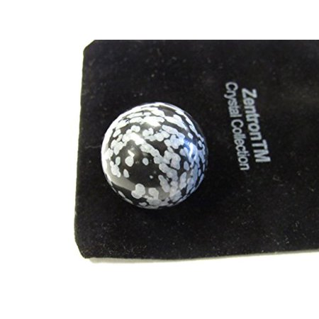 Zentron Crystal Collection: 25 MM Snowflake Obsidian Sphere with Velvet Bag