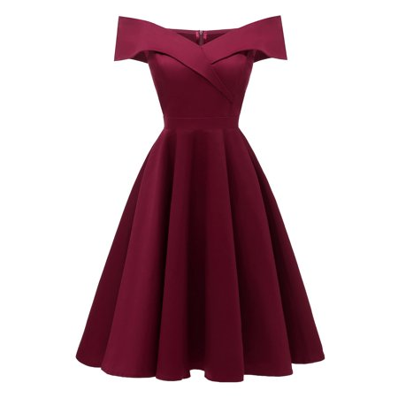 Topcobe Cocktail Dress for Women, Women's Off Shoulder Vintage Dresses for Ladies, TC-CH4369WRS Wine Red Summer Evening Party Formal Swing Dress for Juniors, S-2XL