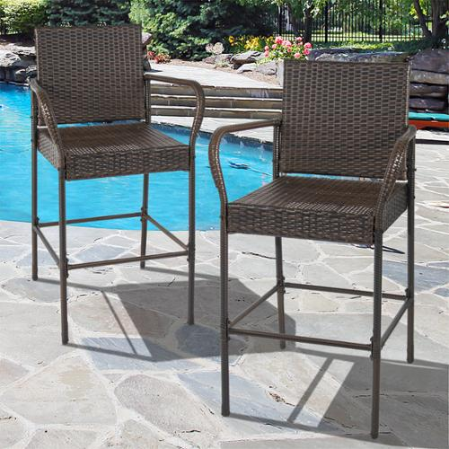 BCP Set of 2 Outdoor Brown Wicker Barstool Outdoor Patio Furniture Bar Stool