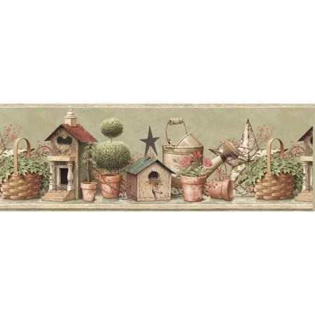 Brewster CTR63144B Shandi Green Bird Hill Border Wallpaper](Tweety Bird Halloween Wallpaper)