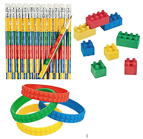 Building Block Party Favors - 12 Pencils, 12 Erasers and 12 ...