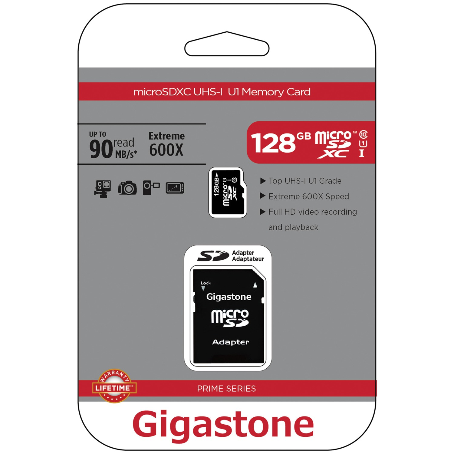 Gigastone GS-2IN1600X128GB-R Prime Series microSD Card with Adapter (128GB)