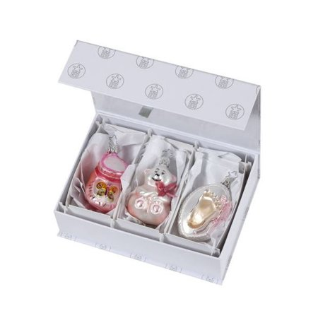 - Inge Glas It's a Baby Girl German Glass Christmas Ornament Set New