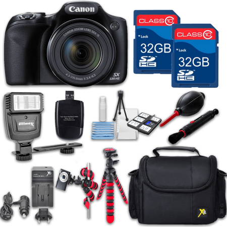 Canon Powershot SX530 (Black) HS Point and Shoot Digital Camera, W/ Case + 64GB Memory + Flash + Tripod + Case + Cleaning Kit + More