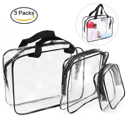 3 in 1 Clear PVC Cosmetic Bags Storage Bag Waterproof Transparent Travel Makeup Bags Clear Toiletry Cases with Zipper Closure and Handle (One Travel Bag)