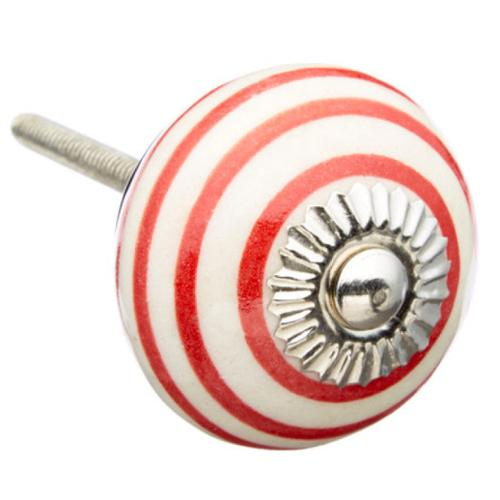 Shabby Restore Red Strips Ceramic Drawer/ Door/ Cabinet Knob (Pack of 6)