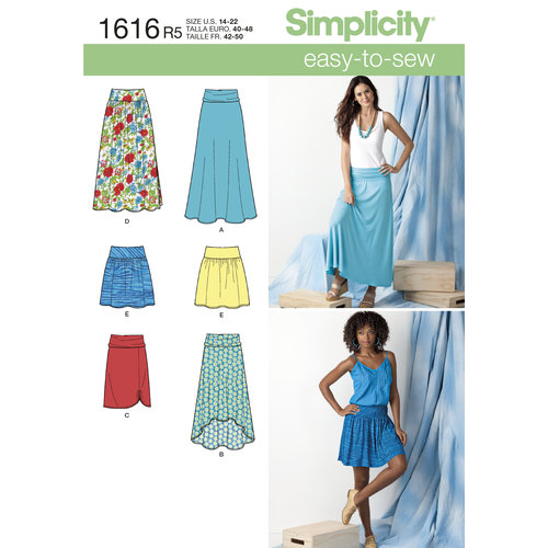 Simplicity Misses' Size 14-22 Knit or Woven Skirts Pattern, 1 Each