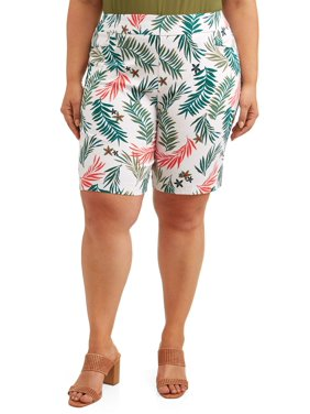 53e80c848 Product Image Women's Plus Size Printed Pull On Stretch Woven Short with  Tummy Control