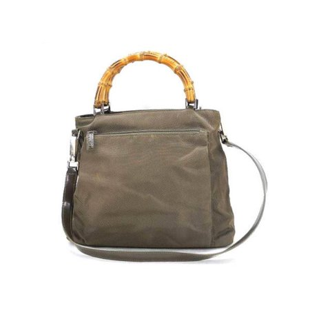 4ae5ac7c1 Gucci - Bamboo 2way Tote 223797 Khaki Nylon Shoulder Bag - Walmart.com