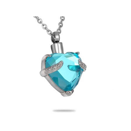 Aquamarine Jewelry - NEW Aquamarine Hold My Heart Cremation Jewelry Keepsake Ash Urn Holder Necklace