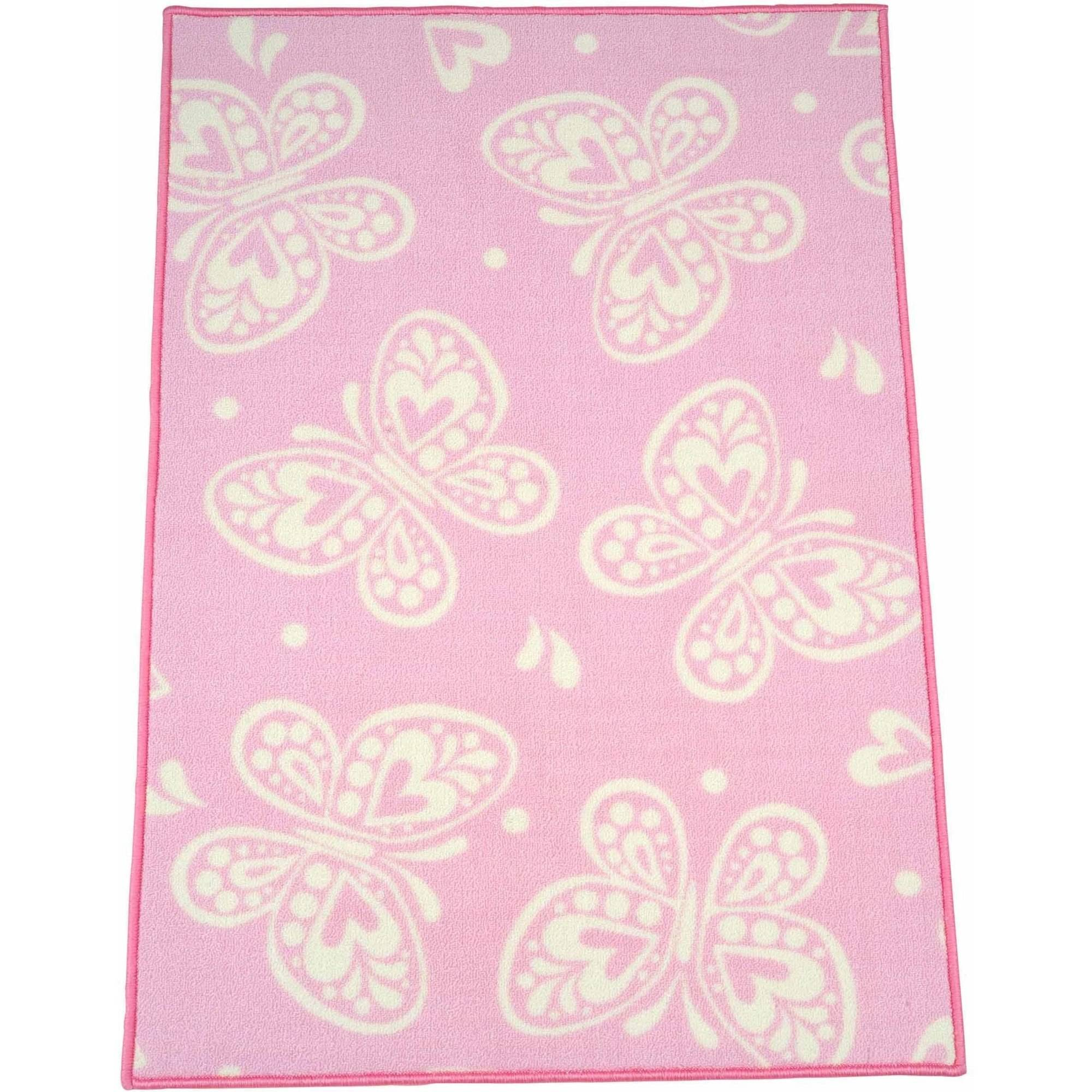 Mainstays Kids Butterfly Pink Rug, ...