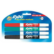 EXPO Low Odor Dry Erase Markers, Fine Tip, Primary Colors, 4 Count