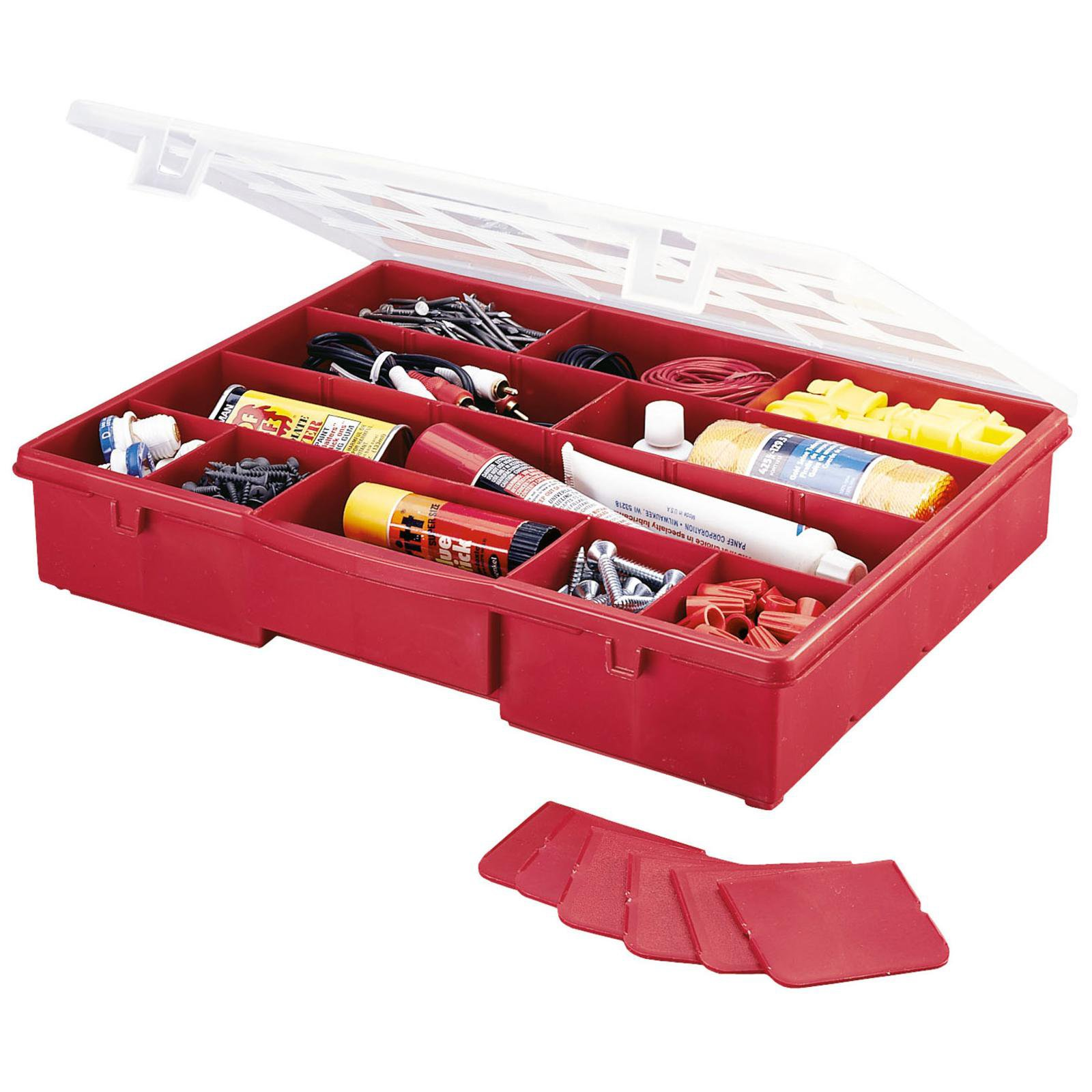 Stack-On 17 Compartment Storage Box (Red)