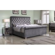 Best Master Furniture Jean-Carrie Upholstered Sleigh Bed, Eastern King Grey Velvet