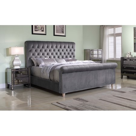 Best Master Furniture Jean-Carrie Upholstered Sleigh Bed, Eastern King Grey