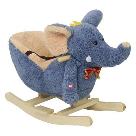 Kinbor Baby Kids Toy Plush Rocking Horse Little Elephant Theme Style Riding Rocker with Sound, Seat belts