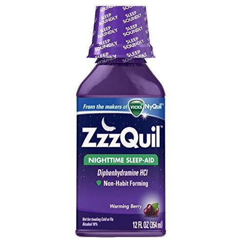 4 Pack -  ZzzQuil Nighttime Sleep-Aid Liquid Warming Berry Flavor 12 oz Each