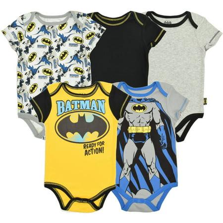 Baby Boys' Batman bodysuits 5 Pack Bodysuit (0-3 - Batman Onsie