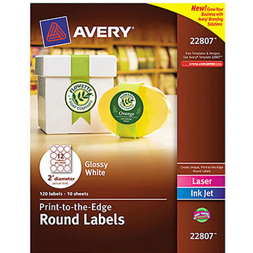 "Avery 22807 Print-to-the-Edge White Round Labels, Glossy, 2"" diameter, 120 Labels/Pack"