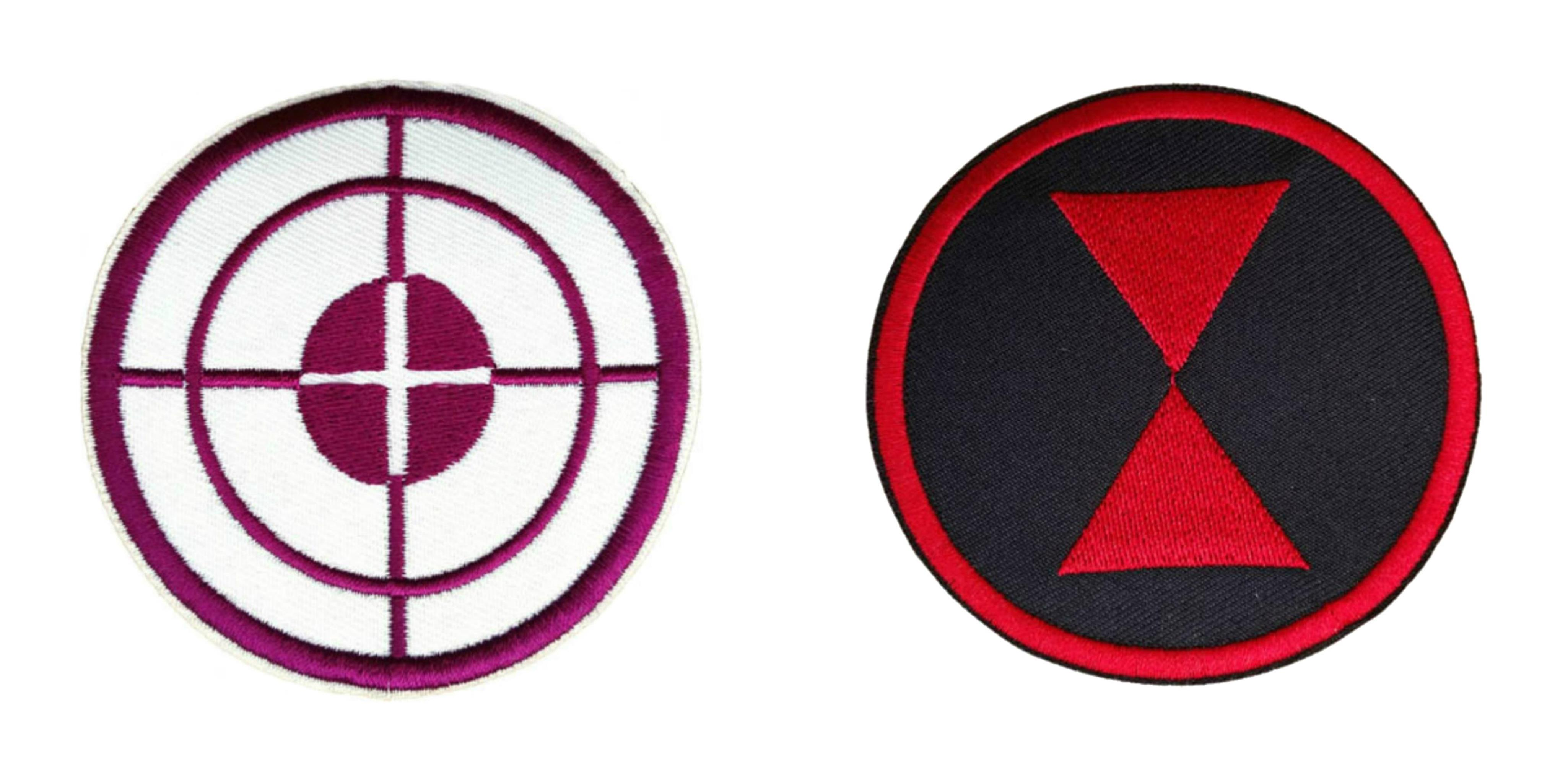 Superheroes Marvel Comics Avengers Hawkeye And Black Widow Logo 3 2 Pack Embroidered Iron Sew On Applique Patches Walmart Com Walmart Com