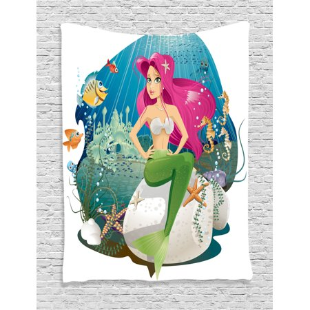 Mermaid Decor Wall Hanging Tapestry, Illustration Of A Mermaid And Her Underwater World Colorful Landscape, Bedroom Living Room Dorm Accessories, Gift Ideas, By Ambesonne](Galaxy Room Ideas)