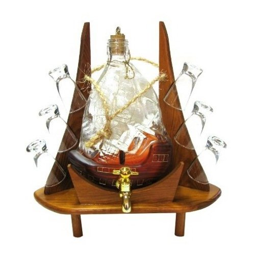 Womar Glass Carafe 8 Piece Sail and Tap with Shot Glass Set