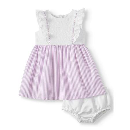 Eyelet and Poplin Stripe Special Occasion Dress (Baby Girls)