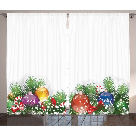 Christmas Decorations Curtains 2 Panels Set, Holiday Season Office Festive Decor Tree Decorations Snowflakes, Window Drapes for Living Room Bedroom, 108W X 90L Inches, White Green Red, by Ambesonne