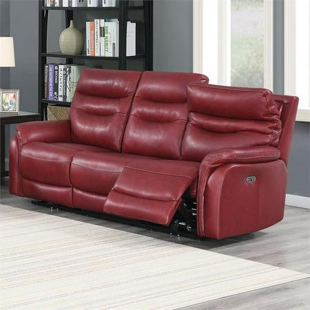 Fortuna Dark Red Leather Power Recliner Sofa Burgundy Leather Reclining Sofa