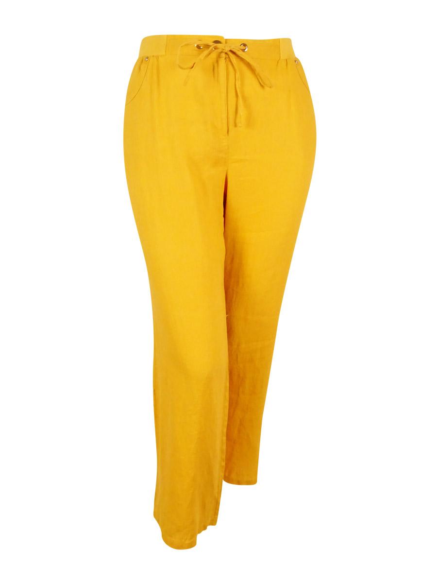 JM Collection Women's 100% Linen Drawstring Waist Pants (18, Saffron Gold)