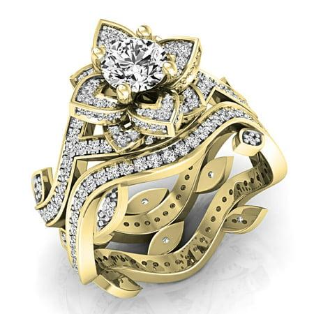 Dazzlingrock Collection 2.25 Carat (ctw) 10K Round White Cubic Zirconia Ladies Engagement Ring Set, Yellow Gold, Size 7