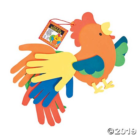 Chinese New Year Rooster Handprint Craft - Turkey Handprint Craft