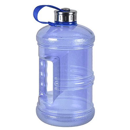 3 Liter BPA Free Reusable Plastic Drinking Water Bottle Jug Container w/ Hand Holder Canteen and Stainless Steel Cap ()