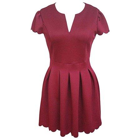c5c4a57da6e VISTA - Women Cute V Neck Sweet Scallop Pleated Skater Dress - Walmart.com