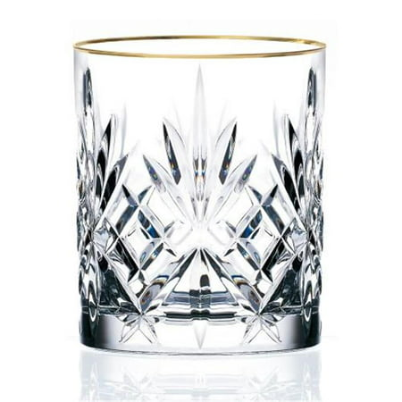 Siena Collection Set of 4 Crystal Double Old Fashion beverage Glass with gold band design by Lorren Home (Waterford Crystal Iced Beverage Glass)