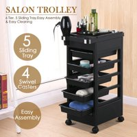 """Topeakmart 32"""" Beauty Salon Spa Styling Station Trolley Equipment Rolling Storage Tray Cart Black"""