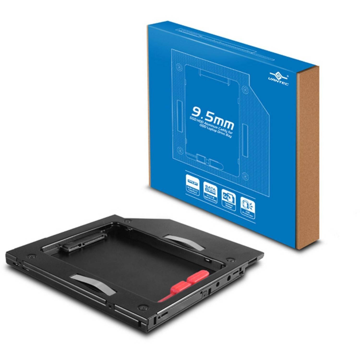 Vantec MRK-HC95A-BK SSD or HDD Aluminum Caddy for 9.5mm ODD Laptop Drive Bay, Black