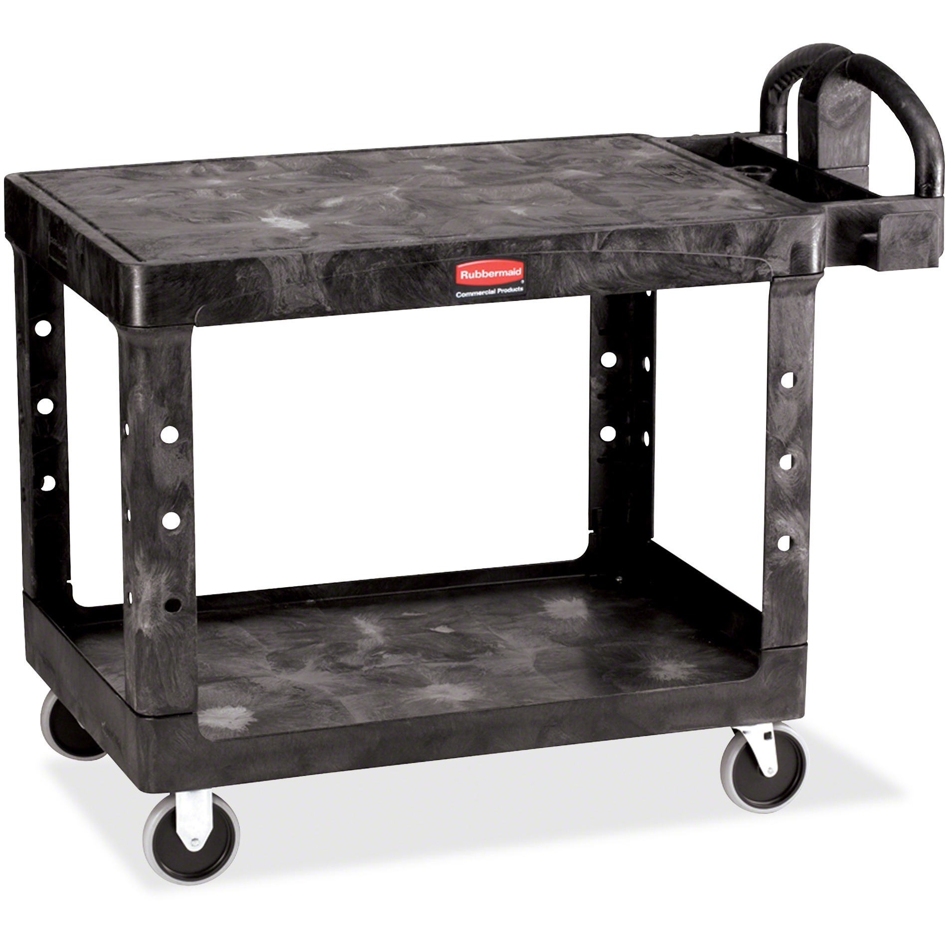 Rubbermaid Commercial, RCP452500BK, 4525 HD 2-Shelf Utility Cart Flat Shelf (Med), 1 Each, Black
