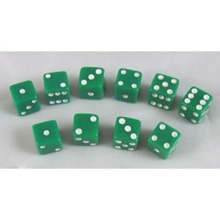 8mm Opaque Green with White Pips 10 Set by Koplow Games - image 1 de 1