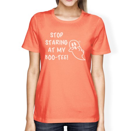 Stop Staring At My Boo Womens Peach T-Shirt Halloween Matching Tee (Peaches New Orleans Halloween)