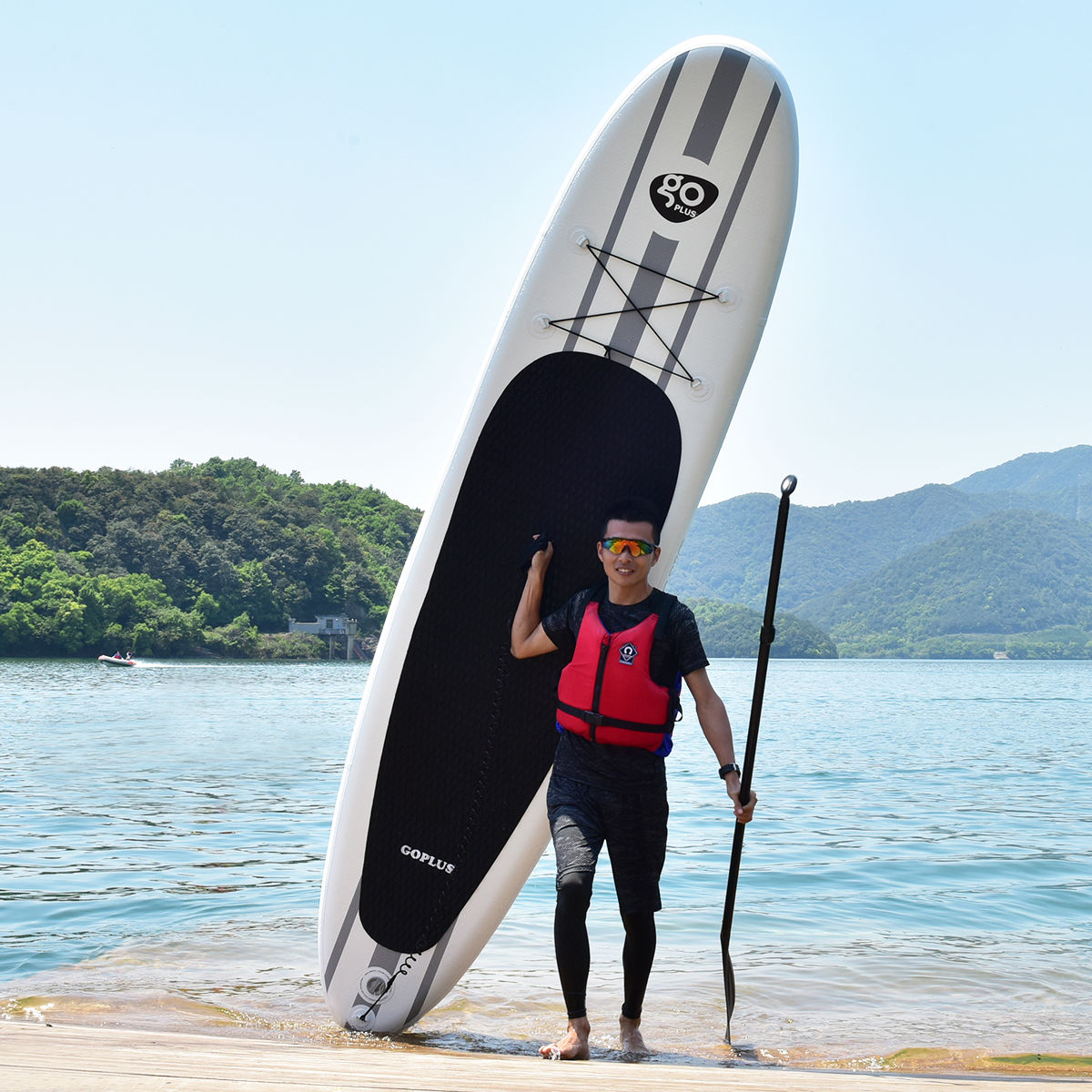Goplus 11' Inflatable Stand Up Paddle Board SUP w  Adjustable Paddle Travel Backpack by Costway
