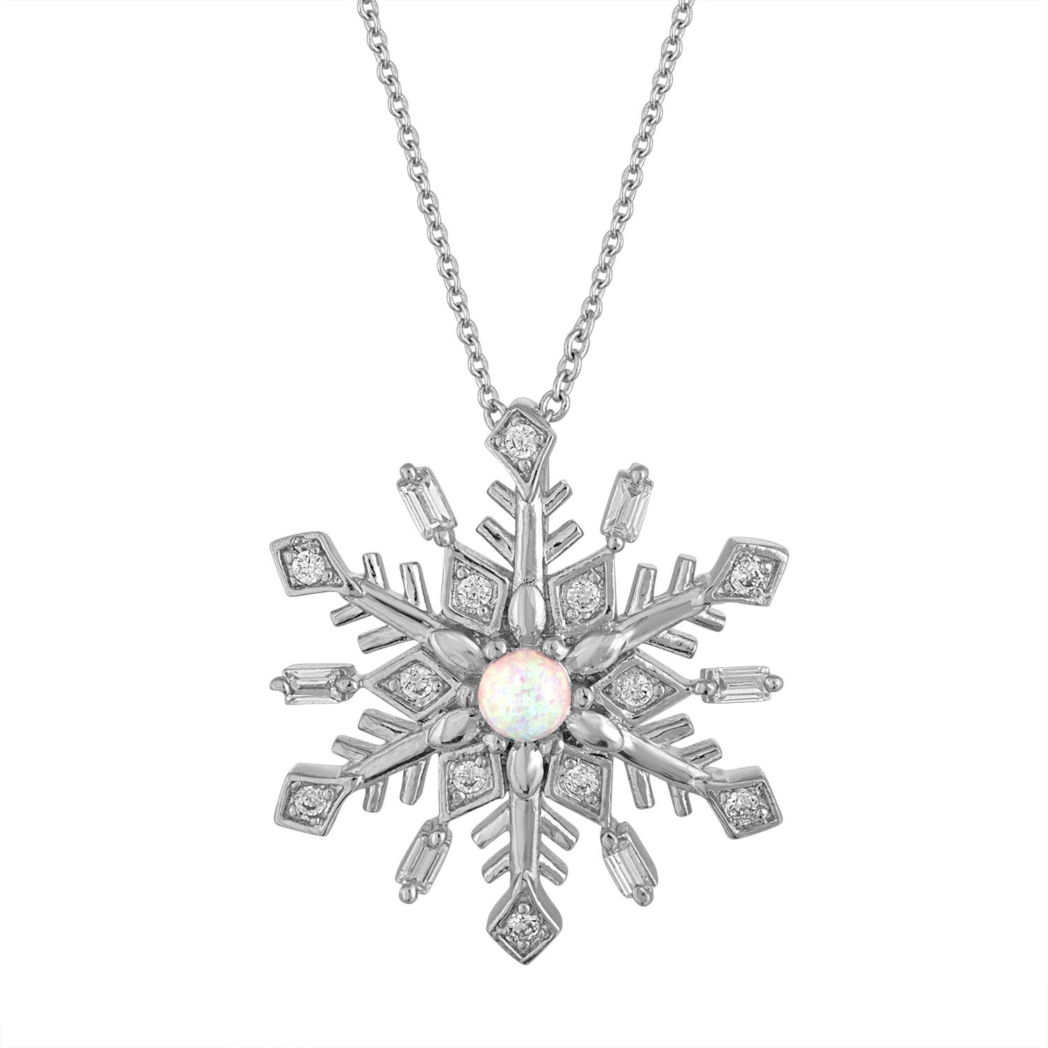 Gemspirations Sterling Silver Plated Simulated Opal with CZ Accents Snowflake Pendant, 18""