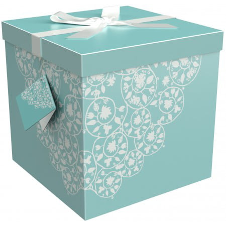 Black Classic Gift Box - Gift Box 12x12x12 Cassandra Collection - Easy to Assemble & Reusable - No Glue Required - Ribbon, Tissue Paper, and Gift Tag Included - EZ Gift Box by Endless Art US