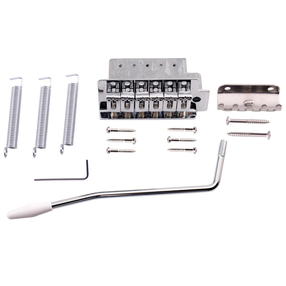 Seismic Audio Chrome Strat-Style Tremolo Bridge Set for Strat Style Electric Guitar Silver - SAGA25