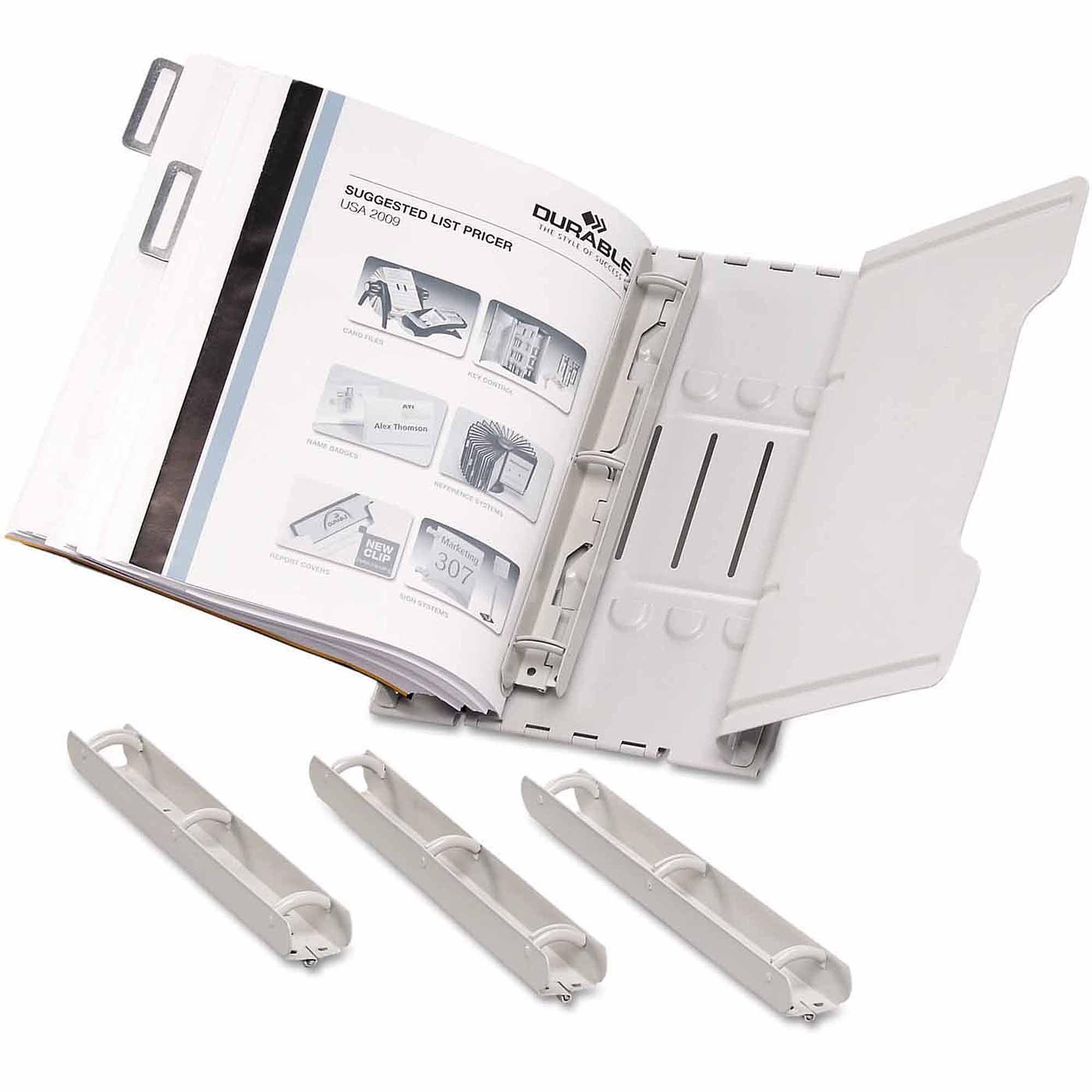 "Durable Catalog Display Rack, Six 1"" Rings, Gray"