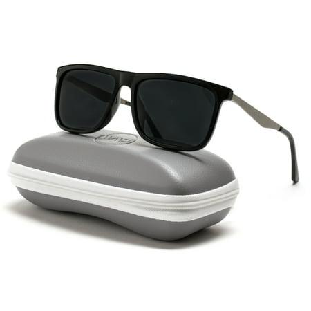 WearMe Pro - Flat Top Polarized Lens Square Black Sunglasses for (Mens Flat Top Sunglasses)