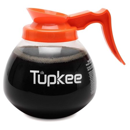 - Tupkee Commercial Coffee Pot Replacement - Restaurant Glass Coffee Pots 12 Cup Decanter Carafe - 64 oz. 12-Cup, Orange Handle / Decaf